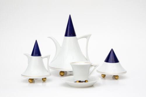 Кофейный сервиз — Белый с синим (дизайнерская серия)