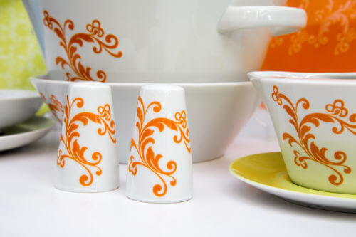 Столовый сервиз — оранжевый с салатовым