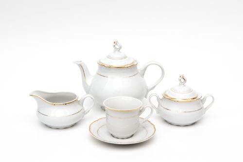 Чайный сервиз — Белый с золотом (на 5 персон)