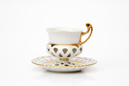 Чайно-кофейная пара —  Белые кружева (на 1 персону)