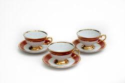 Чайный набор красный перламутровый (комплект 6 пар)
