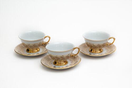 Чайный набор — Золотой лист (комплект 6 пар)